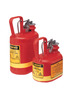 Justrite® 1 Gallon Red Polyethylene Type I Non-Metallic Oval Safety Can With Stainless Steel Hardware (For Flammables)