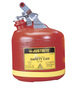 Justrite® 2 1/2 Gallon Red Polyethylene Type I Non-Metallic Round Safety Can With Stainless Steel Hardware (For Flammables)