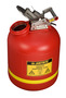 Justrite® 5 Gallon Translucent Red Polyethylene Liquid Disposal Can With Stainless Steel Hardware (For Flammables and Corrosives)