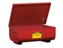 Justrite® 11 Gallon Red Galvanized Steel Benchtop Rinse Tank With Self-Closing Cover
