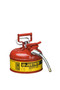 Justrite® 1 Gallon Red AccuFlow™ Galvanized Steel Type II Vented Safety Can With Stainless Steel Flame Arrester And 5/8