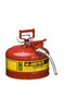 Justrite™ 2 1/2 Gallon Red AccuFlow™ Galvanized Steel Type II Vented Safety Can With Stainless Steel Flame Arrester And 5/8