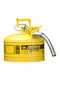 Justrite® 2 1/2 Gallon Yellow AccuFlow™ Galvanized Steel Type II Vented Safety Can With Stainless Steel Flame Arrester And 1