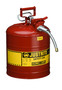 Justrite™ 5 Gallon Red AccuFlow™ Galvanized Steel Type II Vented Safety Can With Stainless Steel Flame Arrester And 5/8