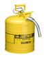 Justrite™ 5 Gallon Yellow AccuFlow™ Galvanized Steel Type II Vented Safety Can With Stainless Steel Flame Arrester And 1