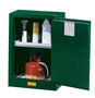 Justrite™ 12 Gallon Green Sure-Grip® EX 18 Gauge Cold Rolled Steel Compact Safety Cabinet With (1) Manual Close Door And (1) Adjustable Shelf (For Pesticides)