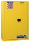 Justrite™ 45 Gallon Yellow Sure-Grip® EX 18 Gauge Cold Rolled Steel Safety Cabinet With (1) Bi-Fold Self-Closing Door And (2) Shelves (For Flammables)