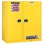 Justrite™ 115 Gallon Yellow Sure-Grip® EX 18 Gauge Cold Rolled Steel Double Duty Safety Cabinet With (2) Self-Closing Partition Doors, (3) Shelves And Rollers (For Flammables)