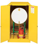 Justrite™ 55 Gallon Yellow Sure-Grip® EX 18 Gauge Cold Rolled Steel Horizontal Drum Safety Cabinet With (2) Self-Closing Doors And Cradle Track (For Flammable Liquids)