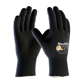 PIP® X-Large MaxiFlex® Endurance by ATG® Black Latex Full Coated Work Gloves With Nylon And Lycra® Liner And Continuous Knit Wrist
