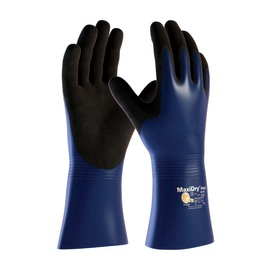 Protective Industrial Products® X-Large MaxiDry® Plus by ATG® Black Nitrile Full Coated Work Gloves With Nylon Liner And Gauntlet Cuff