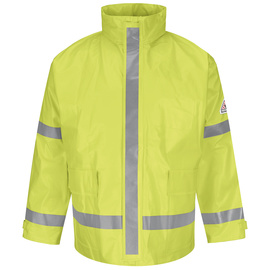 Bulwark® Hi-Viz Yellow And Green PVC/Modacrylic Knit Rain Jacket