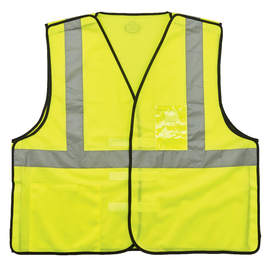 Ergodyne 2X Hi-Viz Green 8216BA  3.3 Ounce Safety  Polyester/Mesh Breakaway Vest ID Badge Holder