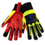 West Chester Large Red, Hi-Viz Green And Black R2 Winter Synthetic Leather Fleece Lined Cold Weather Gloves