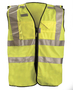 OccuNomix Medium Hi-Viz Yellow 100% ANSI Tricot Polyester Dual Stripe Vest