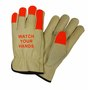 PIP® Medium Natural And Hi-Vis Orange Select Grain Cowhide Unlined Drivers Gloves