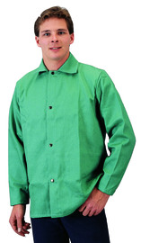 Tillman® Small Green Cotton Indura® Westex® Whipcord Jacket With Snap Front Closure