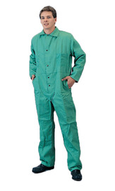 Tillman® Medium Green Cotton FR-7A® Westex® Coveralls With Snap Front Closure