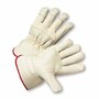 West Chester Small Premium Heavy Split Leather Palm Gloves With Canvas Back And Rubberized Gauntlet Cuff