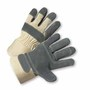 West Chester Large Premium Split Double Leather Palm Gloves With Canvas Back And Rubberized Safety Cuff
