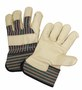 West Chester Small Premium Cowhide Leather Palm Gloves With Canvas Back And Rubberized Safety Cuff