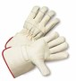 West Chester Small Premium Grain Leather Palm Gloves With Canvas Back And Rubberized Gauntlet Cuff