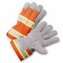 West Chester Small Premium Split Leather Palm Gloves With Polyester Back And Rubberized Safety Cuff