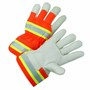 West Chester Medium Premium Grain Cowhide Palm Gloves With Polyester Back And Rubberized Safety Cuff