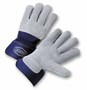 West Chester Small Premium Split Leather Palm Gloves With Leather/Canvas Back And Rubberized Safety Cuff