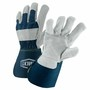 West Chester Large Premium Split Double Leather Palm Gloves With Canvas Back And Rubberized Gauntlet Cuff