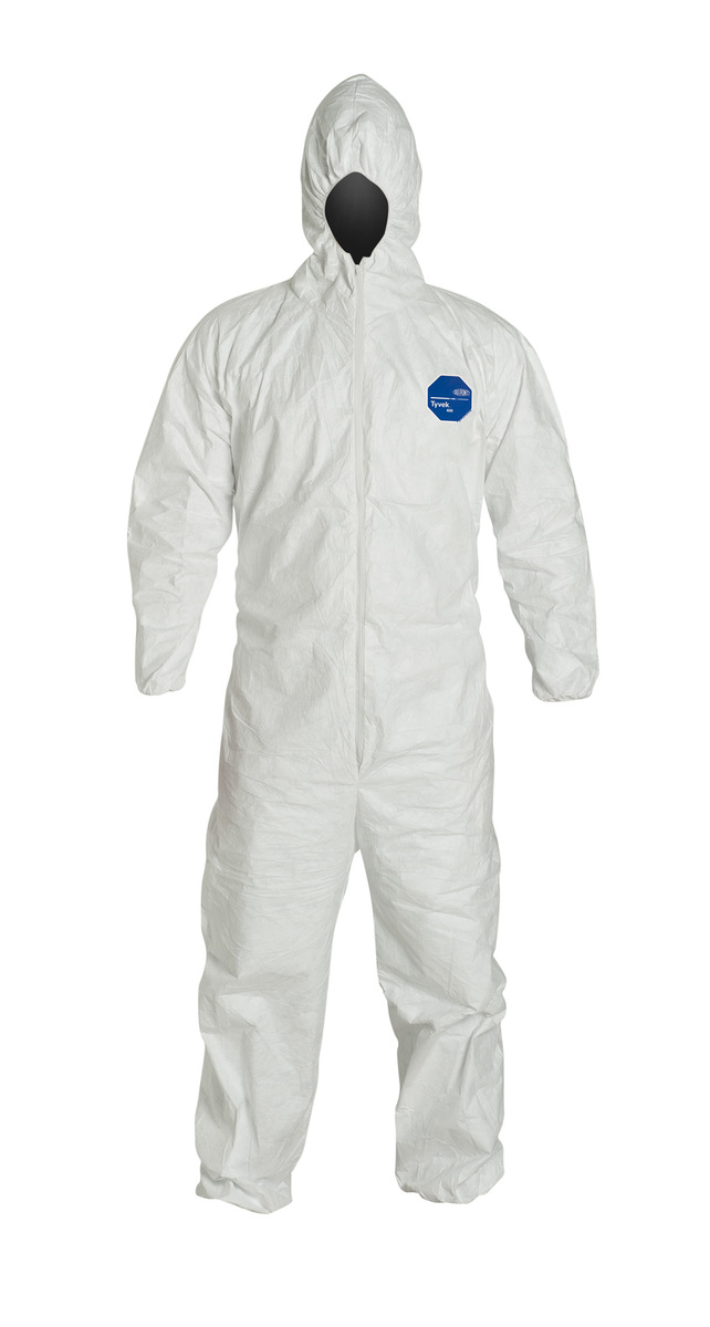 DuPont™ 2X White Tyvek® 400 5.9 mil Disposable Coveralls With Attached Hood, Elastic Wrist And Ankles
