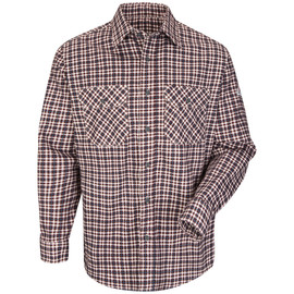 Bulwark® Small Regular Burgundy And Teal Plaid Cotton Nylon Flame Resistant Work Shirt