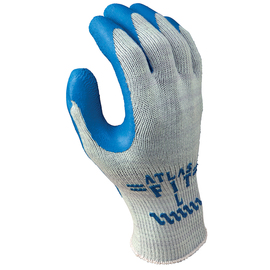 SHOWA® Size 8 ATLAS® 10 Gauge Blue Natural Rubber Work Gloves With Cotton/Polyester Liner And Knit Wrist