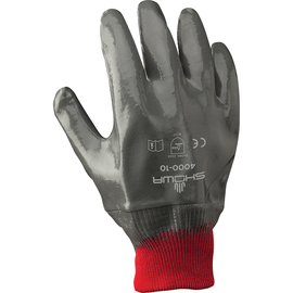 SHOWA® Size 9 Light Gray Nitrile Work Gloves With Cotton Liner And Knit Wrist