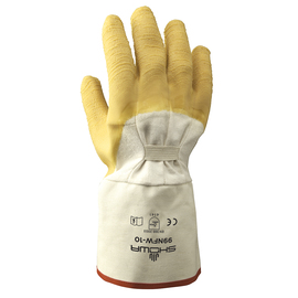 SHOWA® Size 11 Heavy Duty Yellow Natural Rubber Work Gloves With Cotton Liner And Gauntlet Cuff