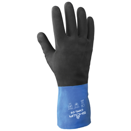 SHOWA® Size 10 Blue And Yellow Cotton Flock Lined 22 mil Neoprene And Rubber Latex Chemical Resistant Gloves