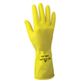 SHOWA® Size 9 Yellow Cotton Flock Lined 18 mil Latex And Rubber Chemical Resistant Gloves