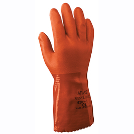 SHOWA® Size 8 Orange ATLAS® Cotton Lined PVC Chemical Resistant Gloves