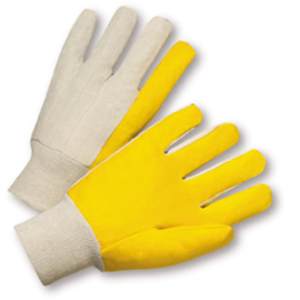 PIP® Large  Yellow PVC Palm And Finger Coated Work Gloves With Cotton Liner And Knit Wrist Cuff