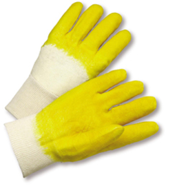 PIP® One Size Fits Most Yellow Latex Palm Finger And Knuckles Coated Work Gloves With Jersey Liner And Knit Wrist