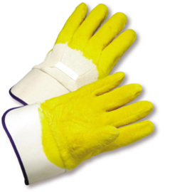 PIP® Large  Yellow Latex Palm, Finger And Knuckles Coated Work Gloves With Jersey Liner And Safety Cuff