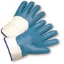 PIP® Large  Heavy Weight Light Blue Nitrile Palm, Finger And Knuckles Coated Work Gloves With Jersey Liner And Safety Cuff