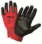 PIP® Large Zone Defense® 15 Gauge Black Polyurethane Palm And Finger Coated Work Gloves With Nylon Liner And Rib Knit Cuff