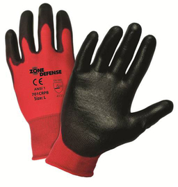 PIP® 2X Zone Defense® 15 Gauge Black Polyurethane Palm And Finger Coated Work Gloves With Nylon Liner And Rib Knit Cuff