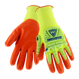 PIP® 2X  10 Gauge Orange Nitrile Palm And Finger Coated Work Gloves With High Performance Polyethylene Liner And Rib Knit Cuff