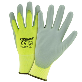 PIP® Large PosiGrip® 13 Gauge Gray Polyurethane Palm And Finger Coated Work Gloves With Nylon Liner And Knit Wrist