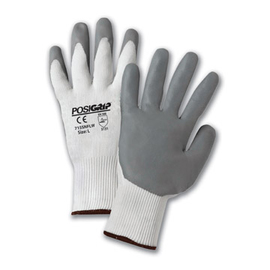 PIP® White/Gray Large Nylon And Nitrile General Purpose Gloves With Knit Wrist