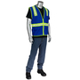 Protective Industrial Products Small Blue Mesh Safety Cut Resistant Sleeve With Prismatic Tape