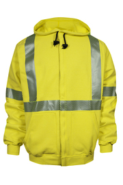 National Safety Apparel® Small Fluorescent Yellow VIZABLE® FR 10.5 oz. Modacrylic/Cotton/Fleece 20 cal/cm² Sweatshirt