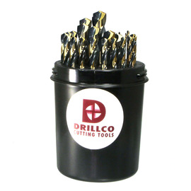 """Drillco Nitro Series 400N 1/16"""" - 1/2"""" X 1/64"""" Black And Gold Oxide HSS 29 Piece Drill Pal Heavy Duty Jobber Length Drill Bit Set With Straight Shank And Spiral Flute 